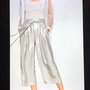 NWT Zara Silver Flowing Wise Leg Cropped Trousers